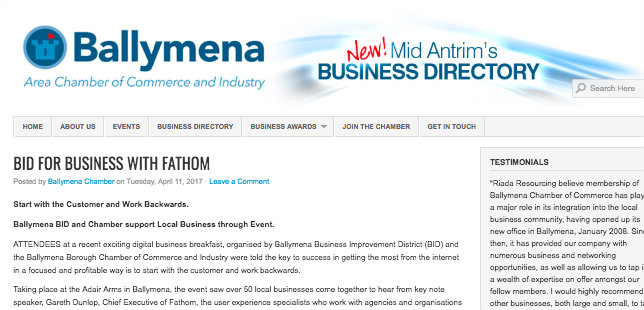 Ballymena Chamber – Bid for Business