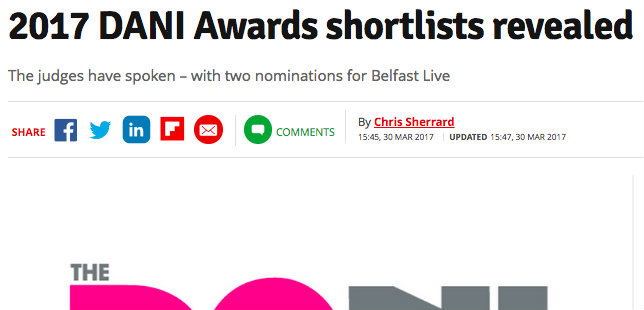 Belfast Live – 2017 DANI Awards shortlists revealed