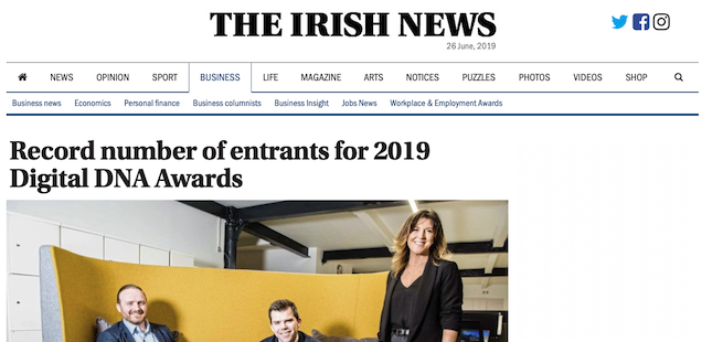 Irish News – Fathom shortlisted for Digital DNA Awards 2019