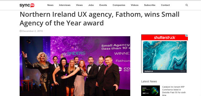Sync NI – Fathom wins Small Agency of the Year