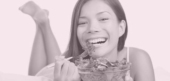 Women laughing alone whilst eating salad is the thin end of the wedge
